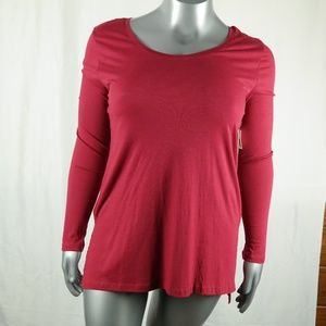 Abound Scoop Neck Shirt XL Red Long Sleeve